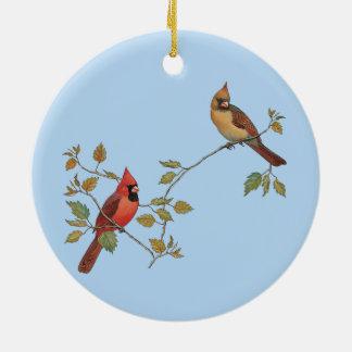 Season's Greetings Cardinals Round Ceramic Decoration