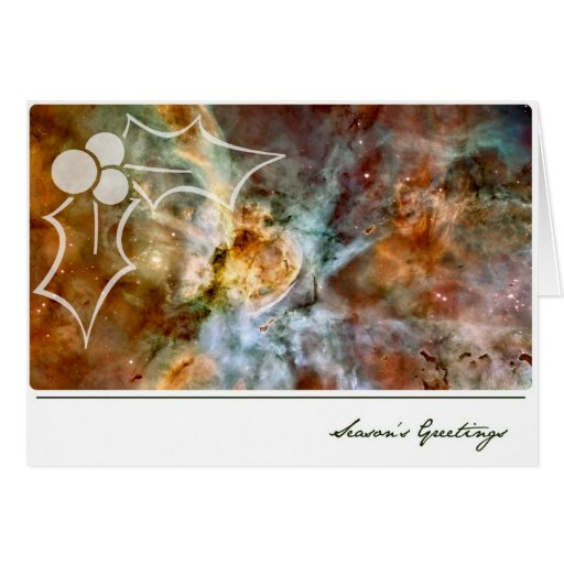 Season's Greetings Carina Nebula with Mistletoe Greeting Card