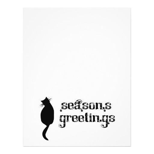 Season's Greetings Cat Silhouette Flyer Design