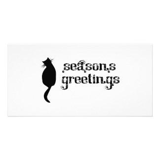 Season's Greetings Cat Silhouette Photo Card Template