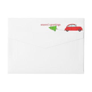 Season's Greetings Christmas car towing tree Wrap Around Label