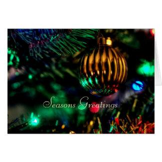 Seasons Greetings Christmas tree bauble card