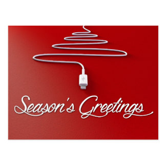 Seasons Greetings Christmas Tree Phone Charger Postcard