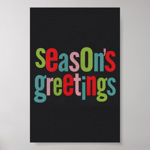 Seasons Greetings Colorful Chalkboard Posters