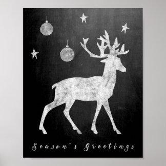 Season's Greetings Deer With Ornaments Chalkboard Poster
