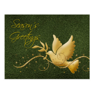 Season's greetings dove peace gold Christmas greet Postcard
