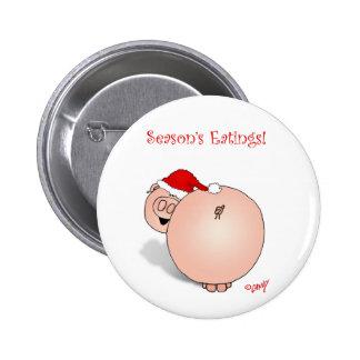 Season's Greetings (Eatings) Pig Cartoon. 6 Cm Round Badge