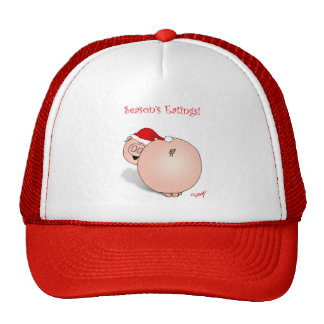 Season's Greetings (Eatings) Pig Cartoon. Mesh Hat