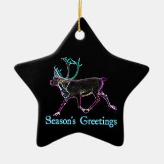 Season's Greetings - Electric Caribou Ceramic Star Decoration