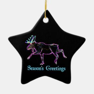 Season's Greetings - Electric Moose Ceramic Star Decoration
