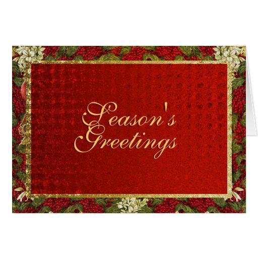 """Season's Greetings"" elegant Christmas red gold Cards"