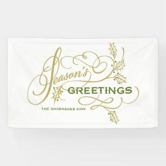 Season's Greetings Elegant Flourish Custom Holiday Banner