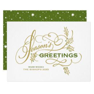 Season's Greetings Elegant Flourish Holiday Card