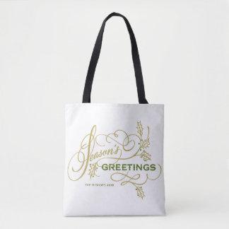 Season's Greetings Elegant Flourish Personalized Tote Bag