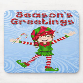 Season's Greetings Elf Mouse Pad
