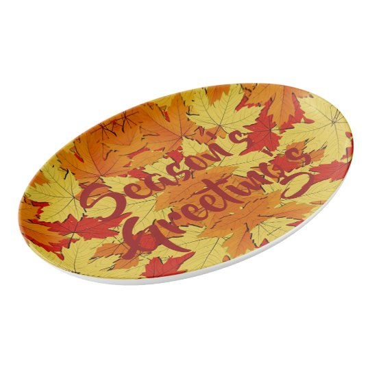 Season's Greeting's Fall Leaves Serving Platter