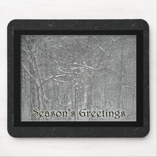 Season's Greetings February Snow Storm Mouse Pads