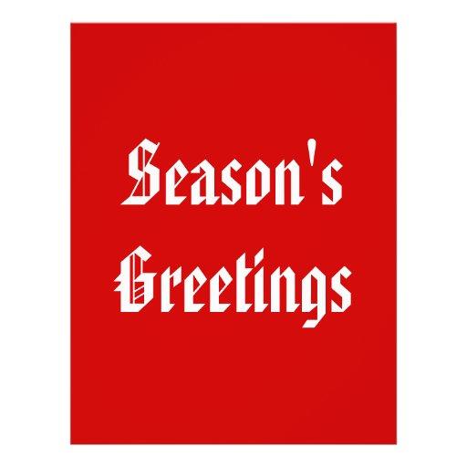 Season's Greetings. Festive Red and White. Custom Flyer