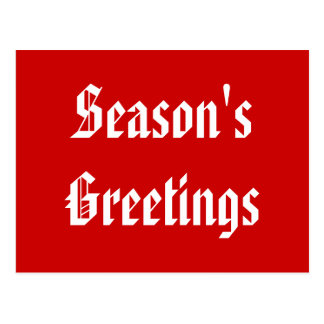 Season's Greetings. Festive Red and White. Custom Postcard