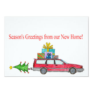 Season's Greetings from New Home 13 Cm X 18 Cm Invitation Card