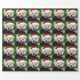 Seasons Greetings from Red Panda Santa Wrapping Paper