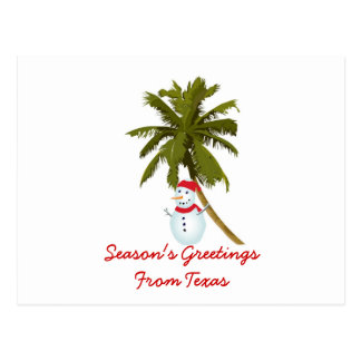 Season's Greetings from Texas, Snowman palm tree Postcard