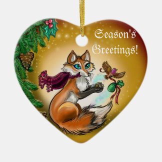 Season's Greetings Gifting Fox~ornament Christmas Ornament