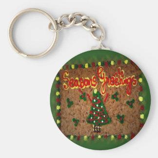 Seasons Greetings Gingerbread II Basic Round Button Key Ring