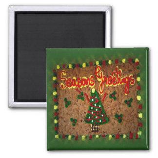 Seasons Greetings Gingerbread II Square Magnet