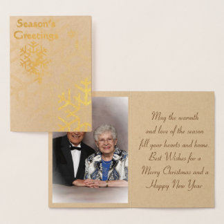 Season''s Greetings Gold Foil Christmas Card