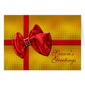 Seasons Greetings gold red gift Greeting Card