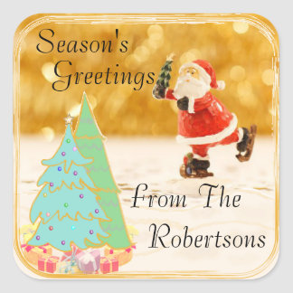 Season's Greetings Gold Square Sticker