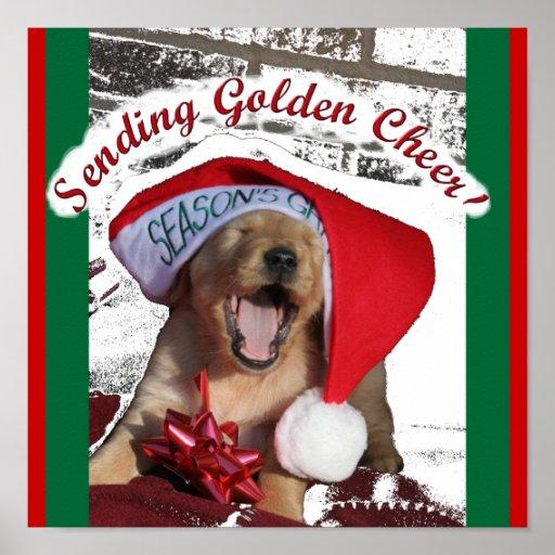 Seasons Greetings GOLDEN RETRIEVER CHRISTMAS PUPPY Poster