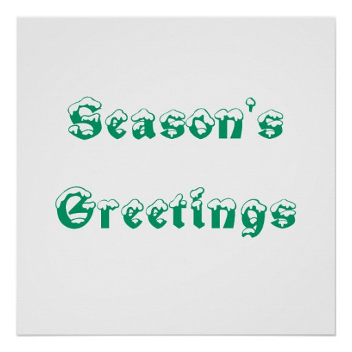 Season's Greetings. Green and White. Custom Print