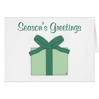 season's greetings green gift note card