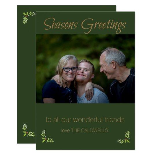 Seasons Greetings Green & Gold Photo Card