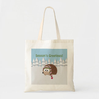 Season's Greetings Hedgehog Tote Bags