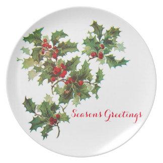 Season's Greetings Holiday Melamine Plate