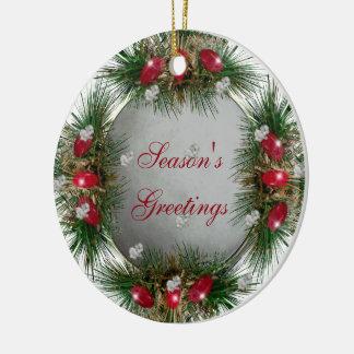 Season's Greetings Holiday Snowball Christmas Ornament