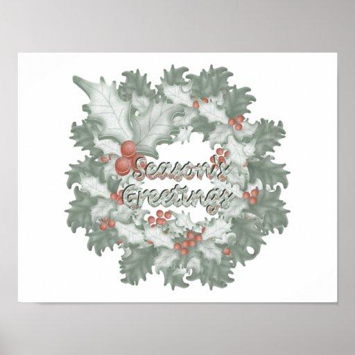 Season's Greetings (holly wreath) Poster