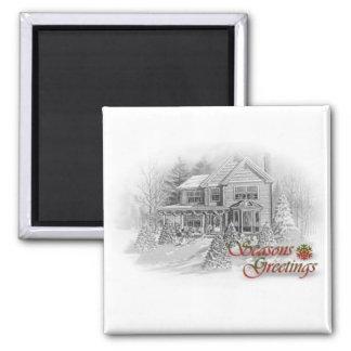 Seasons Greetings House Christmas Drawing Square Magnet