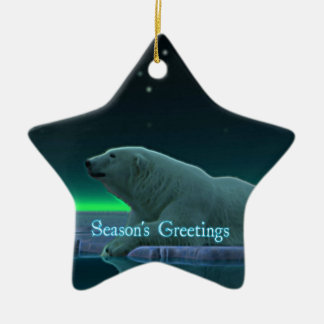 Season's Greetings - Ice Edge Polar Bear Ceramic Star Decoration