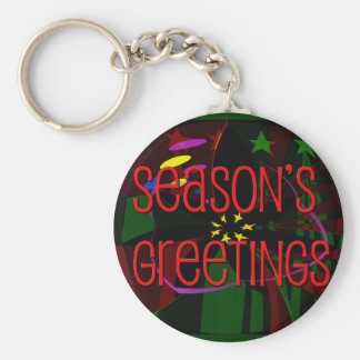 seasons greetings II Basic Round Button Key Ring