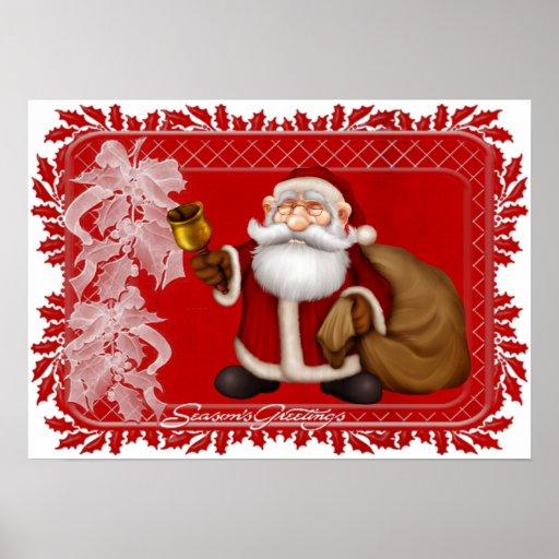 Season's Greetings Jolly Santa - Holiday Print