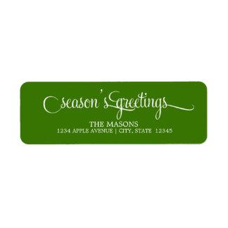 Season's Greetings Lowercase Script | Green Return Address Label