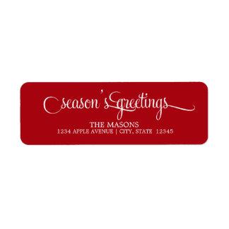 Season's Greetings Lowercase Script | Red Return Address Label