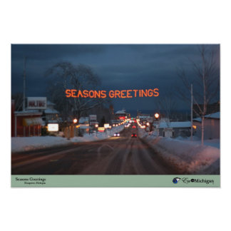 Seasons Greetings - Marquette Michigan Poster