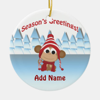Season's Greetings!  Monkey Round Ceramic Decoration