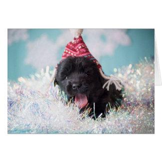 Seasons Greetings Newfie Puppy Card
