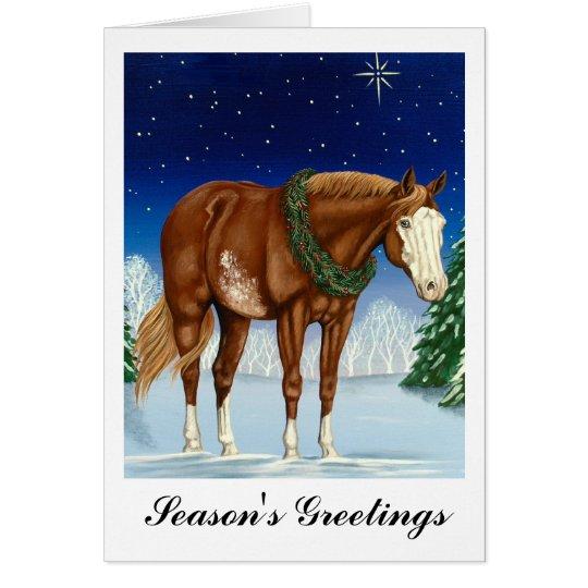 Season's Greetings Overo Paint Horse Card